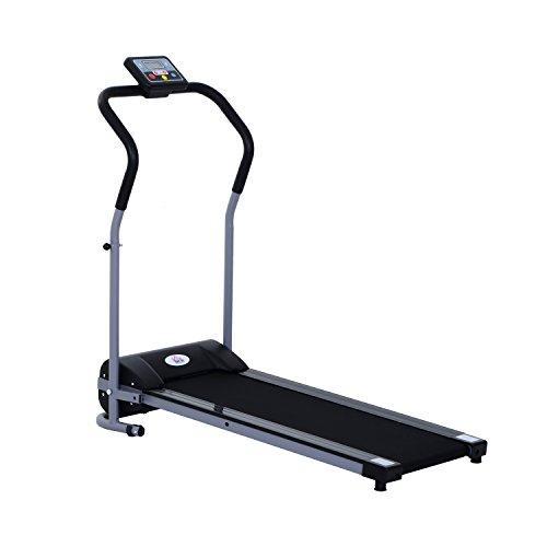 Tapis de course électrique tapis roulant automatique pliable écran LCD équipement de sport fitness 120L x 59l x 113H cm noir gris neuf 56
