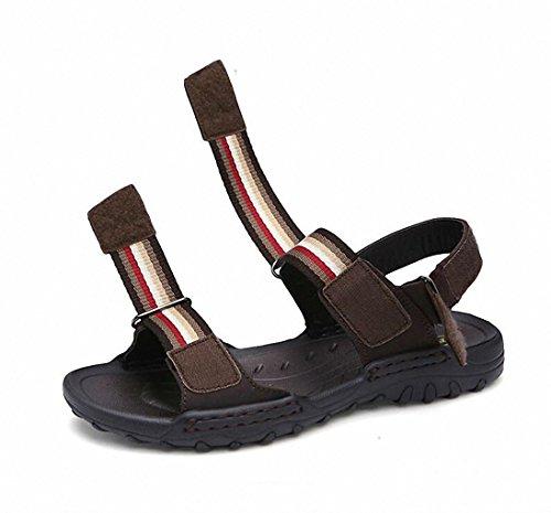 sandali di sport degli uomini estivi all'aperto, aprire-piantato in pelle primo strato di pelle sandali casuali fredde e respirabili Dark Brown