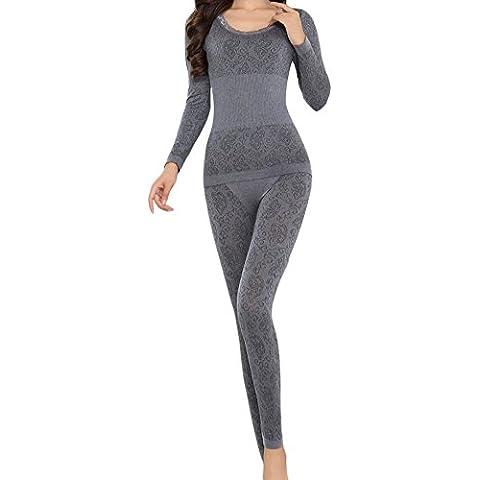 SaiDeng Invierno Mujer Cuello Redondo Conjunto Termico Larga Ropa Interior Conjunto De Pijama