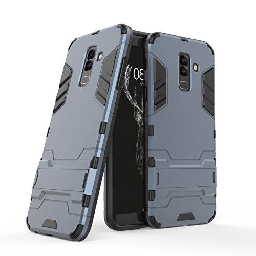 HDRUN Samsung Galaxy A6 2018 Plus Hülle, 2 In1 Kratzfeste Handyhülle Hybrid TPU Silikon Bumper Schale PC Doppelschichter Schutzhülle Standfunktion für Samsung A6 Plus 2018 Case Cover, Dunkelblau