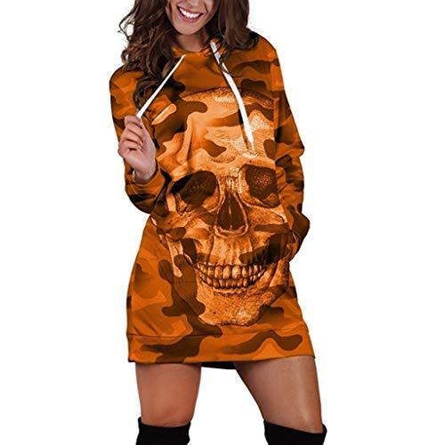 POPLY Frauen Langarm Farbverlauf Skull Drucken Kapuzen T-Shirt Pullover Rock Mini Pullover Kleid Langes T-Shirt Freizeitkleid