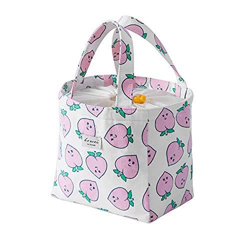 Lunch Taschen - 2019 Neu Thermisch Isolierte Lunch Box Tote Kühltasche Bento Pouch Lunch Container - Klein Kühltasche Faltbar Lunchtasche Mittagessen Tasche - 22x18cm (Rosa) - Kleine Thermische
