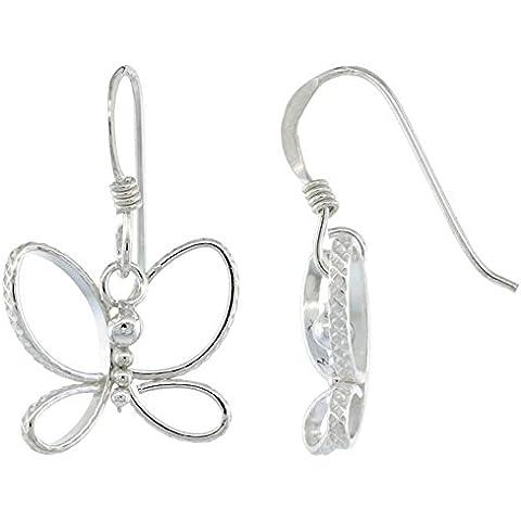 Revoni-Catenina con pendente in argento Sterling intagliato a farfalla, con orecchini a goccia, taglio a diamante, 15, 16, 24 mm di altezza