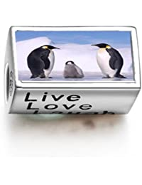 Animal Penguin In Antarctica Words Live Love Laugh Bead Charm Charms Bracelet