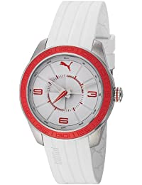 Puma Motorsport Slice - Small Unisex Quartz Watch with White Dial Analogue Display and White Plastic or PU Strap PU102972004