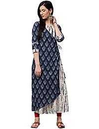Jaipur Kurti Women's Embroidered & Double Layered A-line Cotton Kurta