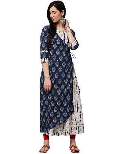 Jaipur Kurti Women Indigo Booti & Shibori Print A-line with Front Overlap Double Layered 52