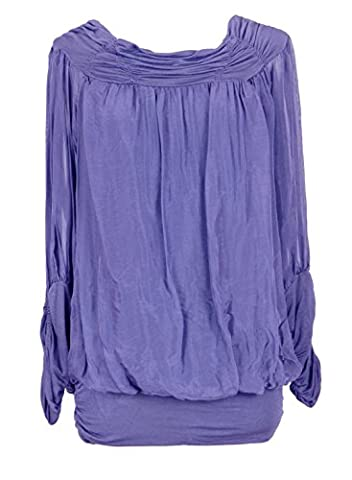 Ladies Womens Italian Lagenlook Quirky Long Sleeve Rusched Elasticated Viscose Neck Silk Tunic Top Blouse One Size (One Size, Violet)