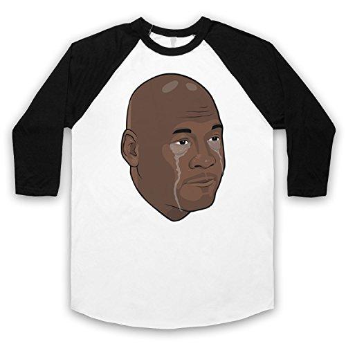 Inspiriert durch Crying Jordan Michael Jordan Face Meme Inoffiziell 3/4 Hulse Retro Baseball T-Shirt Weis & Schwarz