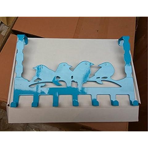 Dopo il cancello di ferro vestigia ganci non sono potenti stenditoi bagno gancio di sospensione della porta da fiocco gancio appendiabiti , Blue Bird 7 ganci