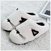 GAOHUI Slippers Los Hombres Invierno Caliente Antideslizante Zapatillas De Felpa Artificial Caricatura Costura Zapatos,Blanca