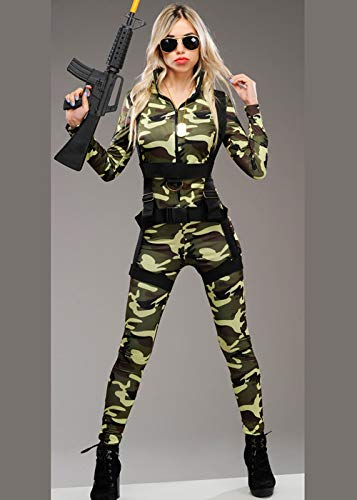Magic Box Int. Deluxe Camouflage Army Catsuit Kostüm für Damen M (UK 10-12) (Damen Für Boxen-kostüm)