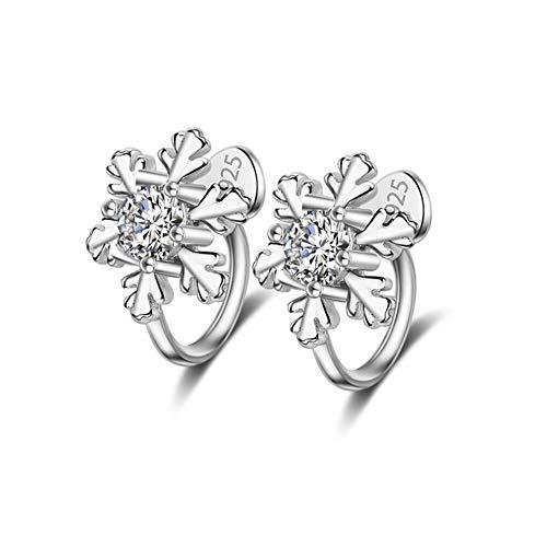 Damen Ohrringe, Blume Versilbert Ohrstecker Kubisch Ball Simulierter Diamant Geschenke Für Frauen Freundin Mode Schmuck Sterlingsilber Glänzend