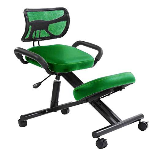 Autopeck Ergonomischer Kniestuhl/Bürostuhl mit Rückenlehne, zur Haltungskorrektur, orthopädisch, höhenverstellbar Grünes Leder