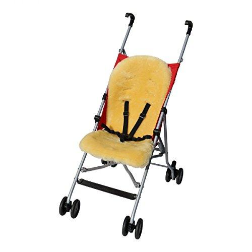 Lammfell - BUGGY Einlage Kinderwagen Felleinlage Baby Merino Schaffell Farbe Gelb