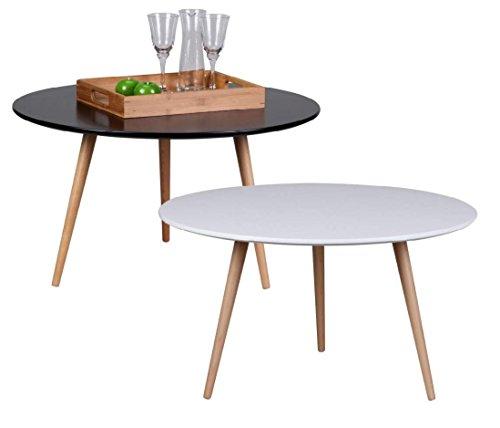 Design Couchtisch SKANDI 80 X 45 Cm Form Rund Skandinavischer Retro Look