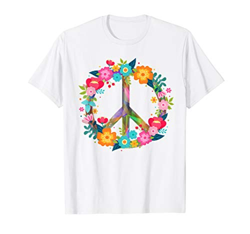 Peace for all Love T-Shirt Hippie Kostüm 60er 70er (Alle Grünen Kostüm)