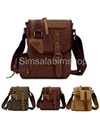 Alcoa Prime Men's Retro Style Canvas Messenger Bag Shoulder Satchel Crossbody Bag Khaki