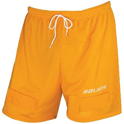 Bauer - Pantaloncini da bambino Jock Short Mesh Senior, Giallo (giallo), L