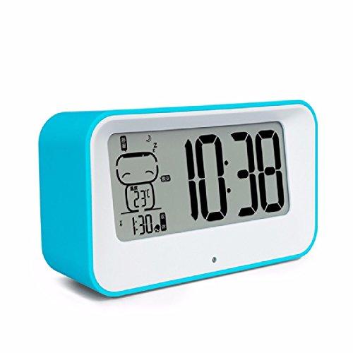 Preisvergleich Produktbild ZHGI Kreative Mode mute Studenten niedliche Nachtlicht snooze Lichtempfindlicher elektronischer Wecker den Nachtmodus der Uhr,  Sky Blue