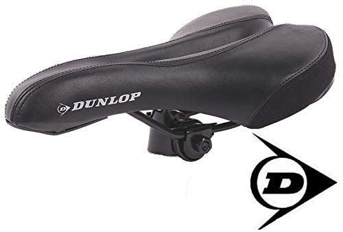 Dunlop FGM19 ergonomicher Mountainbike MTB Fahrrad Sattel, Damen u. Herren Komfort Fahrradsattel, atmungsaktiv, Stoßresistenter weicher Mountain Bike Gelsattel, Rennrad Trekking Rad Sitz, schwarz