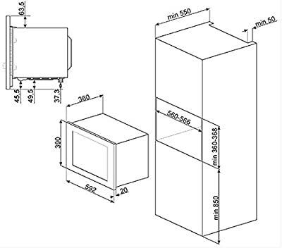 Smeg MI20X-1 Integrado 20L 800W Acero inoxidable - Microondas
