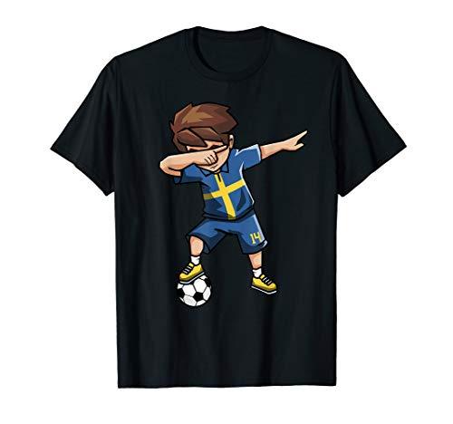 Schweden Flagge Fußball T-Shirt für Jungen Geschenke Shirt