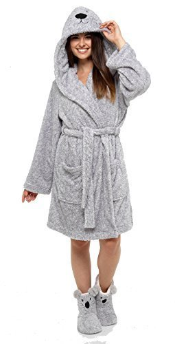 Damen Tier Robe mit Kapuze Bademantel Winter warm Fleece Insignia - grau Koala mit Größe 7-8 Stiefel, Medium (Fleece Robe Gemütliche)