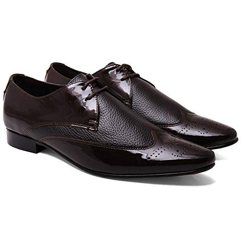 Unze Stac' Hommes cuir Formel bureau bureau Lacets chaussure Brun