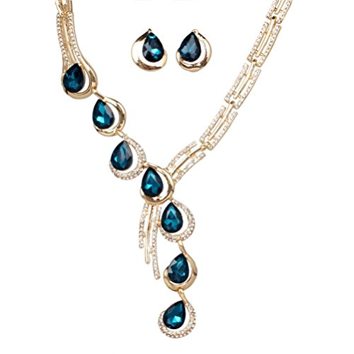 sunifsnow-fashion-tilt-one-line-crystal-diamond-necklaceearrings-two-suit-blue
