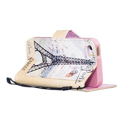 iPhone SE Hülle,iPhone 5S Hülle,SainCat PU Leder Hülle Brieftasche im BookStyle Wallet Case Lederhülle Folio Karikatur Muster Bär Schutzhülle Ledertasche Hülle Bumper Handytasche Skin Schale Soft Back Eiffelturm##