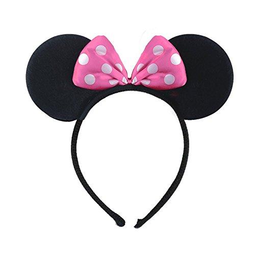 AP003 MINNIE MINI MOUSE EARS HEADBAND Fancy Dress Disney Spotted Bow Ladies Kids Girls