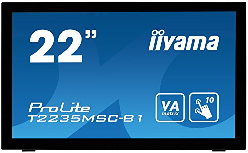 iiyama ProLite T2235MSC-B1 54,6cm (21,5 Zoll) VA LED-Monitor Full-HD 10 Punkt Multitouch kapazitiv (VGA, DVI, DisplayPort, USB für Touch) schwarz