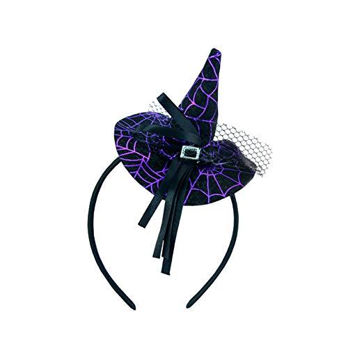 Da.wa halloween strega testa fibbia strega puntato cappello puntelli piccolo berretto tiara fascia regali di halloween decorazione festa viola