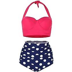 FeelinGirl Lunares Push Up Vintage Talle Alto Conjunto de Baño Bikini para Mujer Rosa/Azul Marino M
