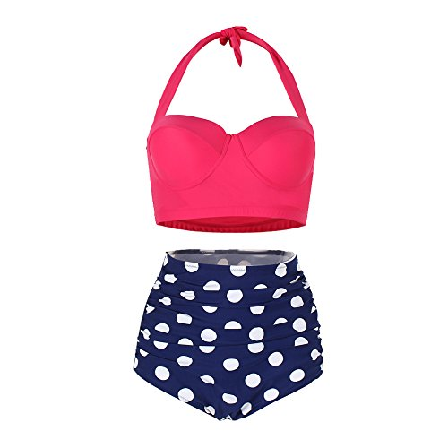 FeelinGirl Women's Vintage Polka Dot High Waisted Push up Bathing Suits Bikini Set Promotion