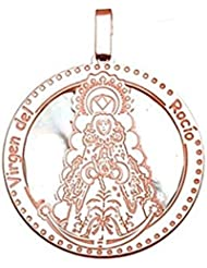 Medalla plata ley 925m. Virgen Rocío nácar 30mm. bano rosa [8915]