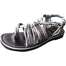 Brillanto Sandalias Retro Mujeres Peep Toe Zapatos Moda Plano Cuerda de cáñamo Tobillo Correa Sandalias de