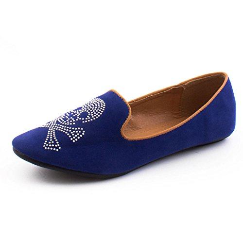 Damen Low Top Totenkopf Strass Ballerinas Sneaker Slipper Halbschuhe Blau