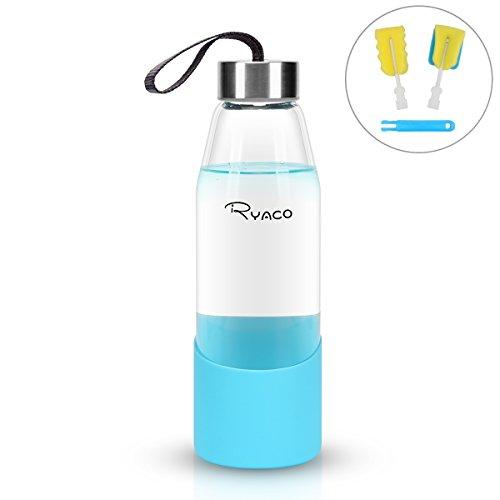 Ryaco bottiglia d'acqua, 500ml bottiglia vetro trasparente portatile con guaina protettiva in silicone per il campeggio viaggi tè ufficio (blu, 500 ml)