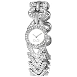 D&G Ladies Cactus Quartz Analogue Watch DW0548 with Silver Dial, Stainless Steel Case and Bracelet Encrusted with Crystals