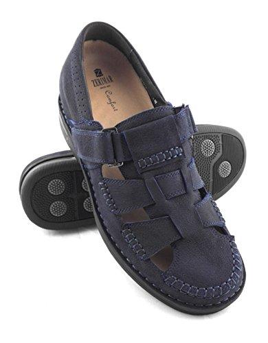 ZERIMAR Sandali per gli uomini con Aumentato ¡ATTENZIONE OFFERTA SPECIALE 7,5 ANNIVERSARIO! interno di 7 cm Marcatura fashion design 100% pelle Colore Blu scuro Blu scuro