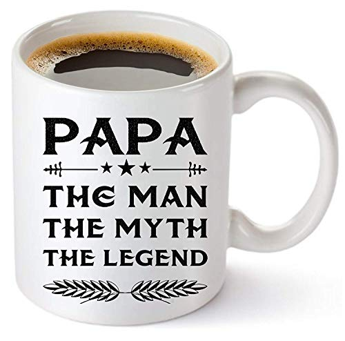 TK.DILIGARM Papa Mug - Gift for Dad and Grandpa! Coffee Tea 11oz Cup. Unique Gifts for Men & Husband! Christmas, Birthday, Father's Day - Papa The Man The Myth The Legend! + Woodworking Ebook by