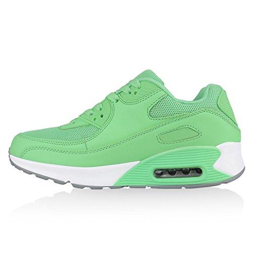 Trendige Unisex Laufschuhe | Damen Herren Kinder | Sportschuhe Metallic Glitzer | Camouflage Sneaker Bunt | Schnür Sport Turnschuhe Neongrün Camargo