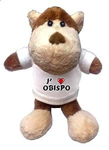 Peluche singe porte-clé avec J'aime Obispo (Noms/Prénoms)