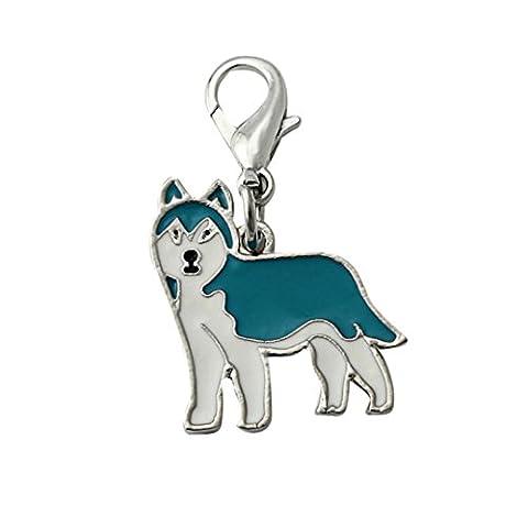 Accessoires Collier Pour Chien Kolylong Collier Chien Accessoires Dog Tag Disc Disque Pet ID Enamel Accessoires Collier Collier Pendentif 25mm (Husky sibérien)