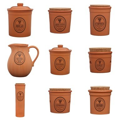Porto Natural Terracotta Kitchen Storage Accessories Utensils Holders Canisters Jars (Complete Set)