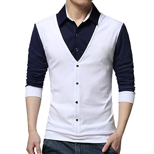 MRULIC Herren Turndown Kragen Hemd Mode Gefälschte Zwei Shirts Langarm Patchwork Tops Formale Hemd Bluse und Weste(Weiß,EU-4XL/CN-5XL)