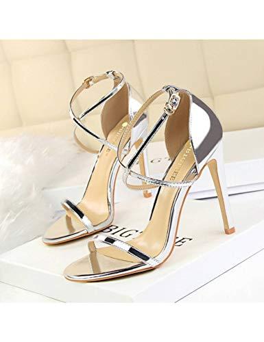 RWEV Frauen Sandalen Lackleder Frauen High Heels Schuhe Gold Frauen Pumps Hochzeitsschuhe Frauen Stiletto Ghn Silver