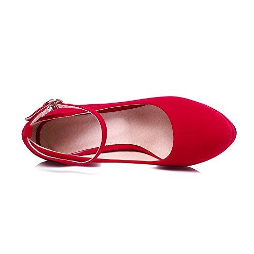 AgooLar Femme Boucle à Talon Haut Suédé Couleur Unie Rond Chaussures Légeres Rouge